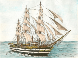 Amerigo Vespucci ship watercolor and pen Dleeo